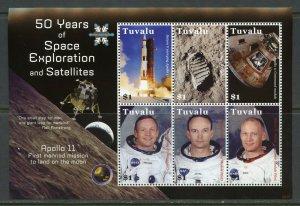 TUVALU  50 YEARS OF SPACE EXPLORATION & SATELLITES APOLLO 11  SHEET MINT NH