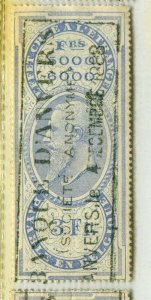 BELGIUM; Early 1880s Leopold used classic Revenue issue used value, 3f