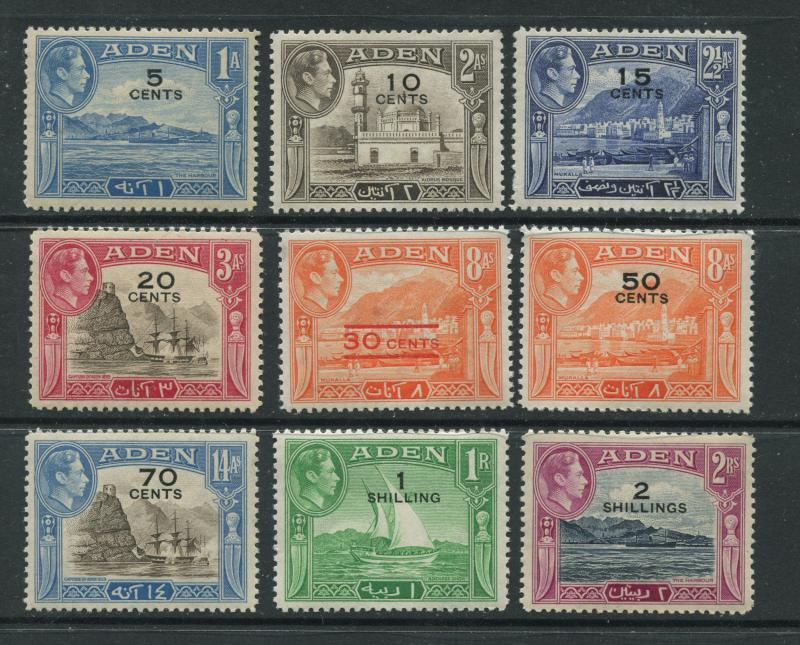ADEN - Scott 36-44 - Surcharge Issue - 1951 - MNH - Short Set of  Stamps