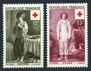 France B309-310,MNH.Michel 1117-1118. Cross-1956.By Louis Le Nain,Watteau.