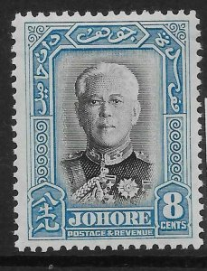MALAYA JOHORE SG130 1940 8c BLACK & PALE BLUE MTD MINT