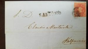 O) 1853 CHILE, CHRISTOPHER COLUMBUS 5c orange-CORREO PORTE FRANCO, OVERLOAD, FRO