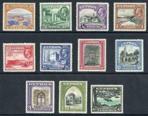 Cyprus SG133/43 1934 KGV Set of 11 Wmk Mult Script CA M/M