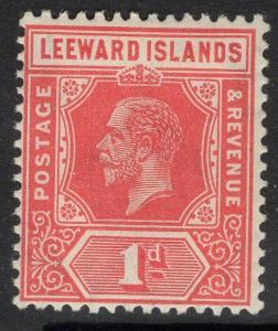 LEEWARD ISLANDS SG83 1931-2 1d BRIGHT SCARLET REVERSION TO DIE I MTD MINT