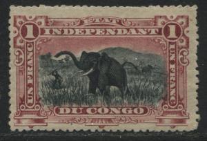 Belgian Congo 1901 1 franc carmine & black mint o.g.