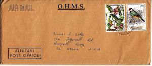 Aitutaki #329 & 368 on Post Office Mail to US