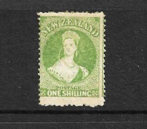 NEW ZEALAND 1864-71  1/- YELLOW GREEN  FFQ  MLH  P12 1/2  CP A6M4  SG 125 CHALON