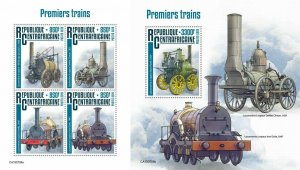 Z08 IMPERF CA190708ab CENTRAL AFRICA 2019 First trains MNH ** Postfrisch