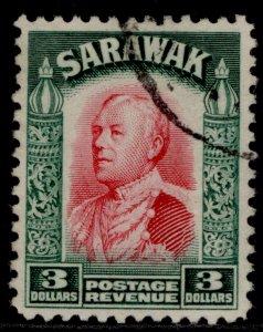 SARAWAK GV SG122, $3 carmine & green, FINE USED. Cat £55.