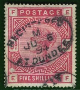GB QV Stamp SG.180 5s Used REGISTERED DUNDEE Oval 1894 Datestamp Cat £250 RED133