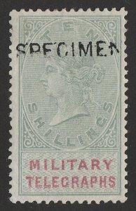 BECHUANALAND 1884 QV Military Telegraphs 10/-, h/s SPECIMEN (SG type 6). RARE!