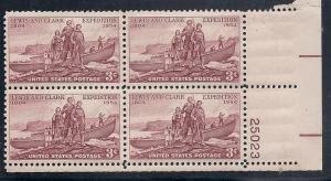 US #1063 3c Lewis & Clark Plate Block of 4 (MNH) CV $0.75