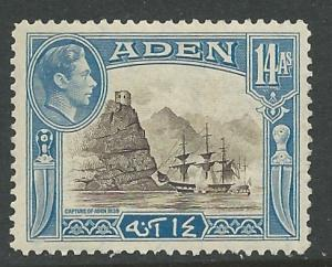Aden # 23A  George VI - 14a added value 1945  (1) Unused VLH