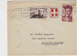France 1950 Paris Cancels Slogan Multiple Stamps Cover to Hollywood Ref 32011