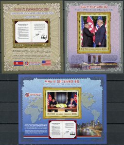 Korea 2019. Singapore Summit between USA and Korea (2019) (MNH OG) set of 3 S/S