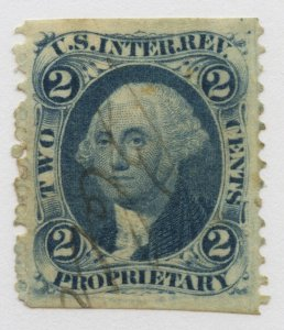 B66 U.S. Revenue Scott R13b 2-cent Proprietary part perf manuscript cxl SCV=$300