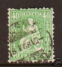 Switzerland Sc 47 used 1862 40c green Helvetia F-VF