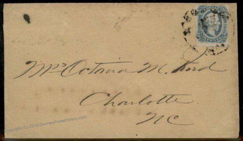 CSA #12 Civil War Confederate Cover North Carolina Augusta GA 92708