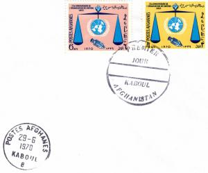 Afghanistan 1970 Sc #824/825 Spacecraft/United Nations Ann.Set (2) FDC