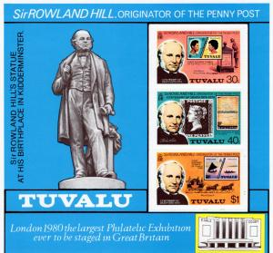 Tuvalu 1979 Sc#124a Rowland Hill/Coaches/Stamp on Stamp SS MNH VF