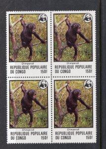 CONGO PEOPLES REPUBLIC456 456 MNH VF Chimpanzee Perfectly centered Block SCV $24