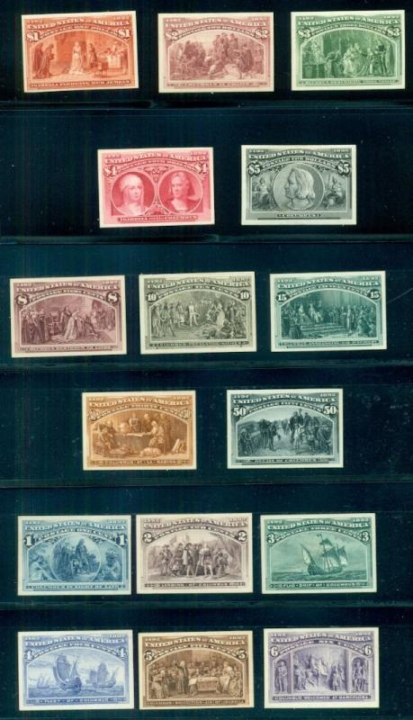 US #230-45P4 Complete set, Columbian Issue PROOFS on card, VF Scott $2,110.00