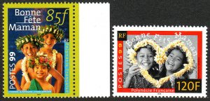 French Polynesia 756-757, MNH. Mother's Day, Children, 1999