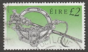 Ireland, Scott# 792, used, green, tara broach, long stamp,  #M036