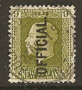 NEW ZEALAND 1925 GV 9d OFFICIAL fine used cat £38 SGO104...................S5344