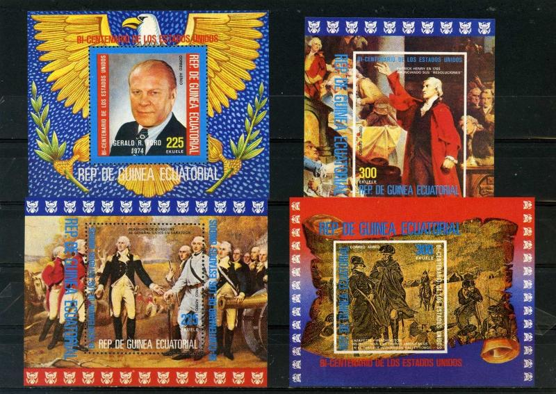 EQUATORIAL GUINEA 1975 AMERICAN BICENTENARY/PRESIDENTS/PAINTINGS 4 S/S MNH