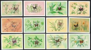 Bhutan Butterflies 12 Miniature Sheets SG#MS850 MI#Block 237-248 CV£80+