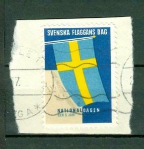 Sweden. Poster Stamp  On Paper.1957 National Day June 6. Swedish Flag. Cancel.