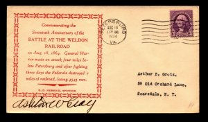 1934 Battle At Weldon Railroad VA Cover / Signed - N441