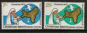 CHRISTMAS ISLAND SG57/8 1973 CHRISTMAS MNH