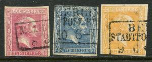 GR Lot 10149 German State Prussia 1857 MICHEL 6-8  1Sgr - 3 Sgr stamps