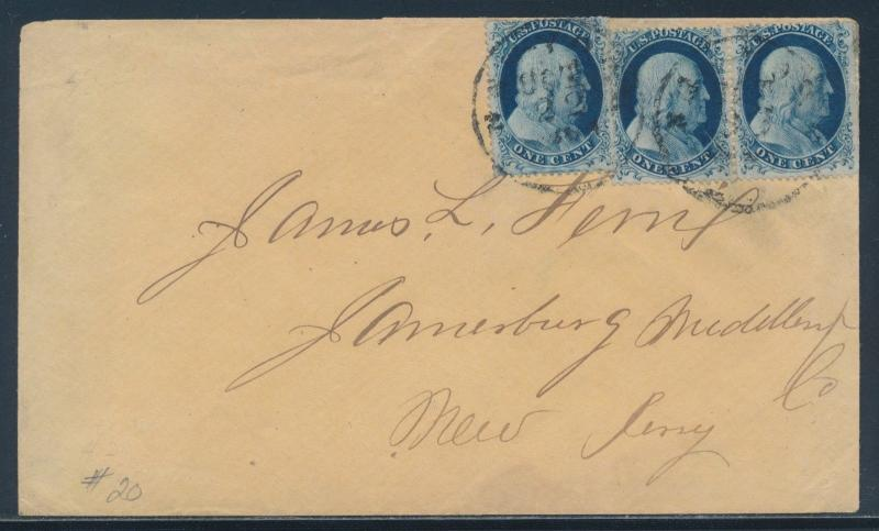 #20 FINE THREE TYPE II STAMPS TIED ON COVER TO NEW JERSEY CV $825 HW4238