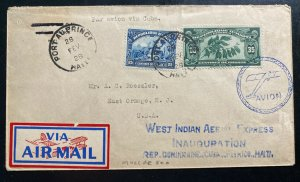 1928 Port Au Prince Haiti First Flight Airmail Cover To East Orange NJ USA