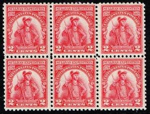 US STAMP #657 – 1929 2c Sullivan's Expedition MNH/OG BLK OF 6 FRESH