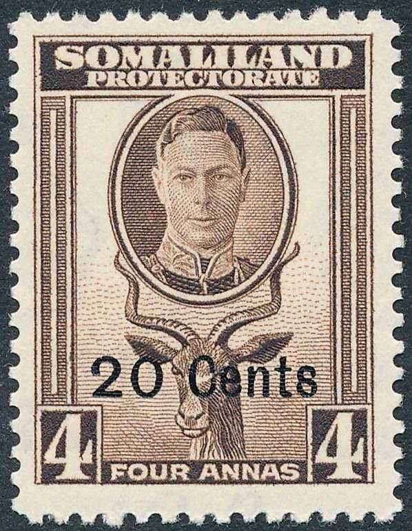 Somaliland Protectorate 1951 20c on 4a Sepia SG128 MH