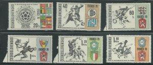 1970 Czechoslovakia Scott Catalog Numbers 1704-1709 Unused Never Hinged