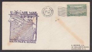 USA 1940 first flight cover Honolulu Hawaii to New Caledonia................Q494