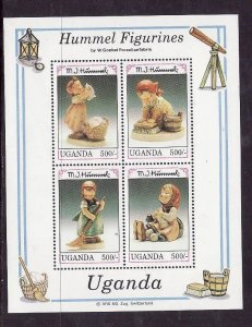 Uganda-Sc#1043- id2-Unused NH sheet-Hummel Figurines-1992-