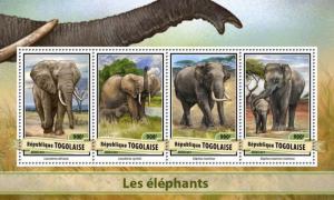 TOGO - 2017 - Elephants - Perf 4v Sheet - MNH
