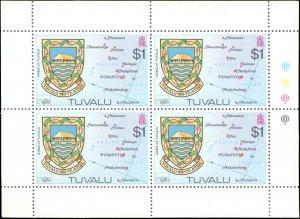 Tuvalu #133-136, Complete Set(4), Blocks of 4, 1980, Never Hinged
