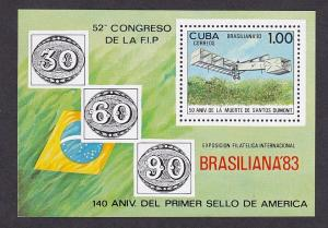 Cuba  #2597   MNH  1983   sheet Dumont`s aircraft  Brasiliana `83