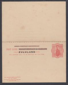 Zululand H&G 4 mint 1893 1p Postal Reply Double Card of Great Britain w/ ovpt