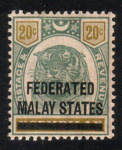 MALAYA FMS 1900 20c SG6 lightly hinged mint................................10501