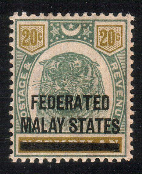 MALAYA FMS 1900 20c SG6 lightly hinged mint................................10501