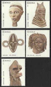 Belgium # 2836 a-e - Masks from Congo - set - MNH - {Klr6}