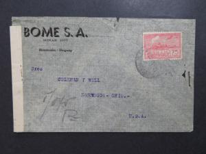 Uruguay 1942 Censor Cover to USA / Small Tears - Z8136